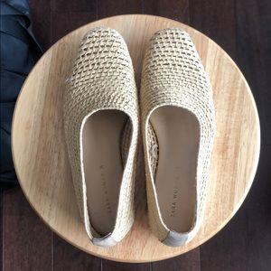 Zara Straw Slip-on Flats Size 36